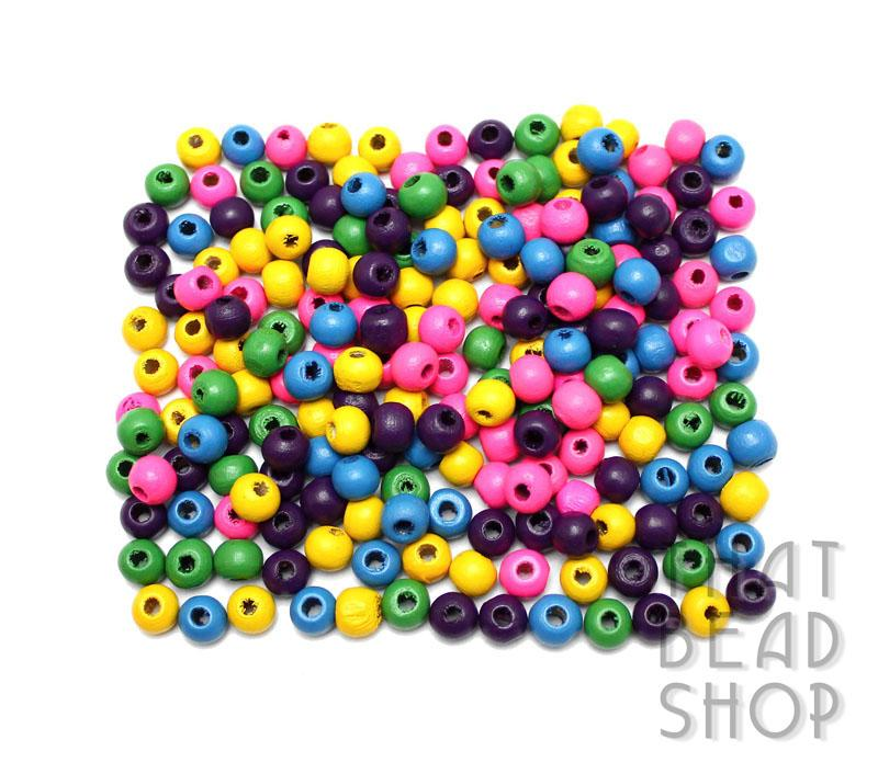 Colour Mix Roundel Wood Beads - 6.5mm x 5mm