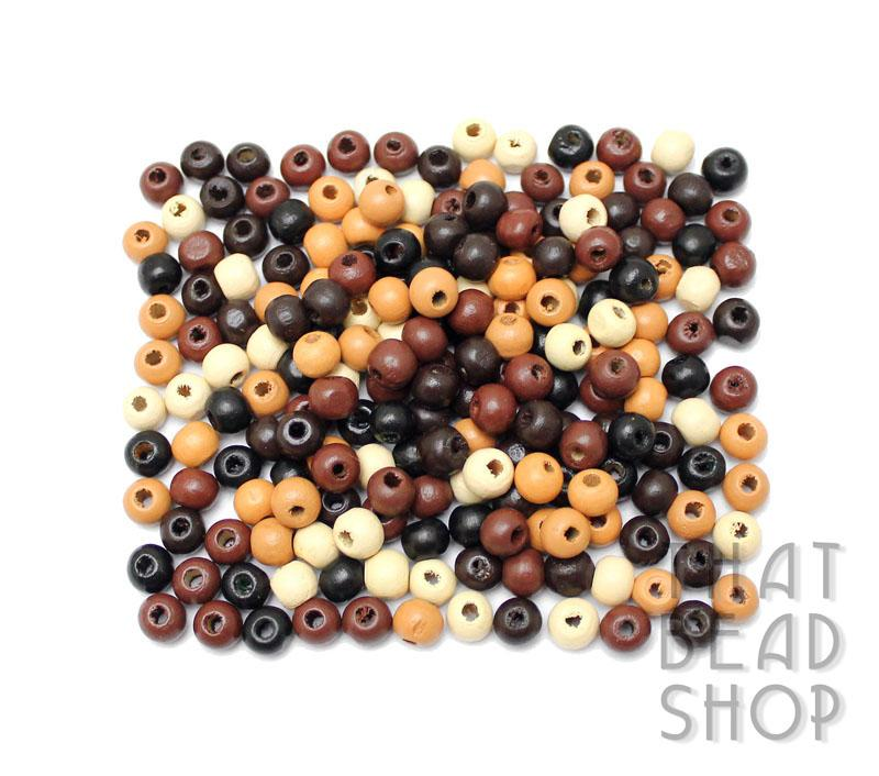 Natural Mix Roundel Wood Beads - 7mm