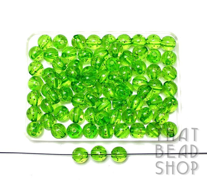 8mm Acrylic Transparent Round with Glitter - Transparent Green
