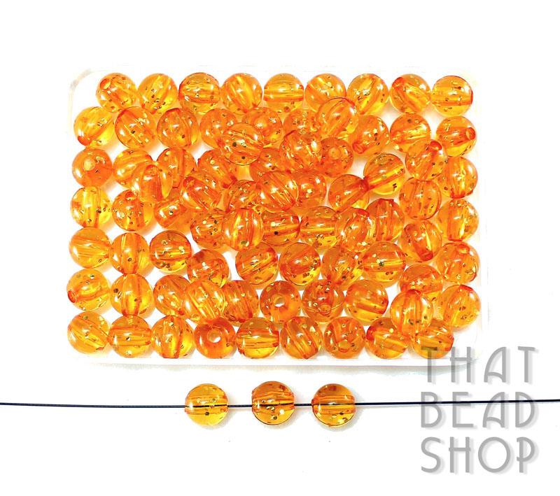 8mm Acrylic Transparent Round with Glitter - Transparent Orange