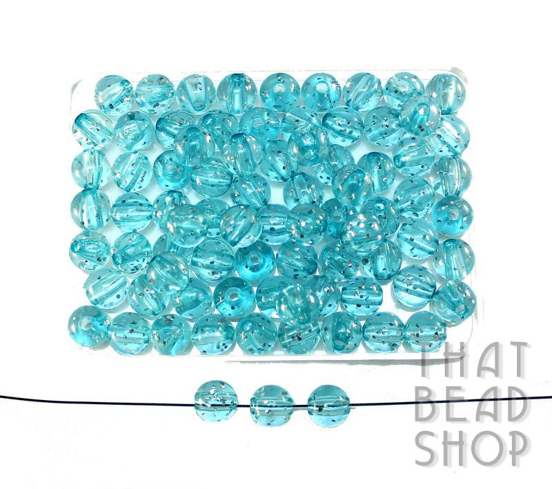 8mm Acrylic Transparent Round with Glitter - Transparent Sky Blue