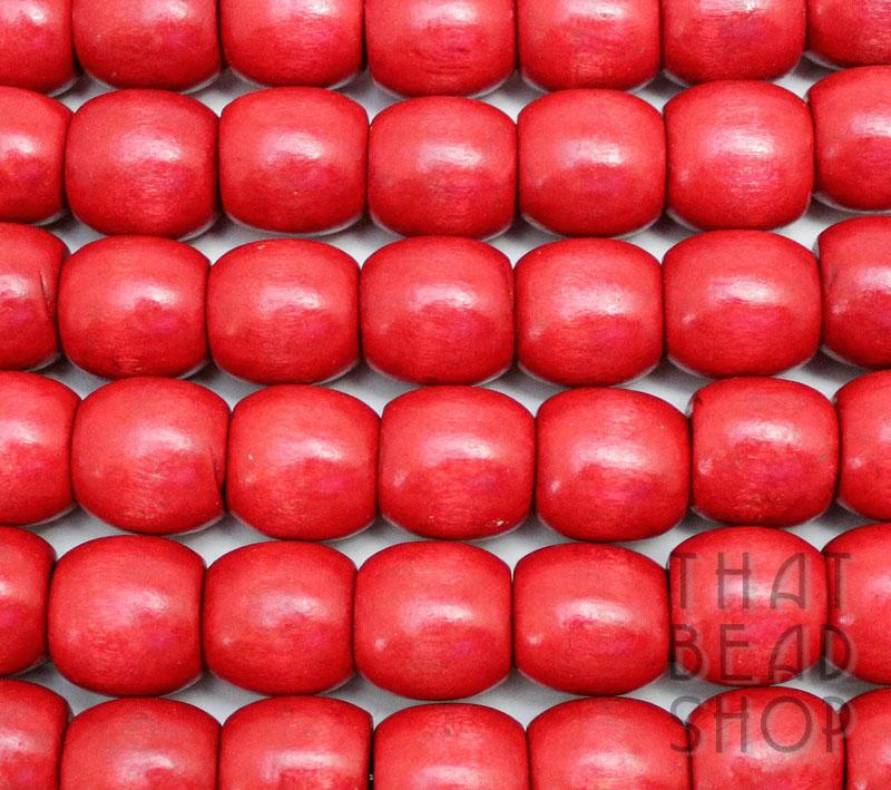 16mm Wood Barrel Beads - Red