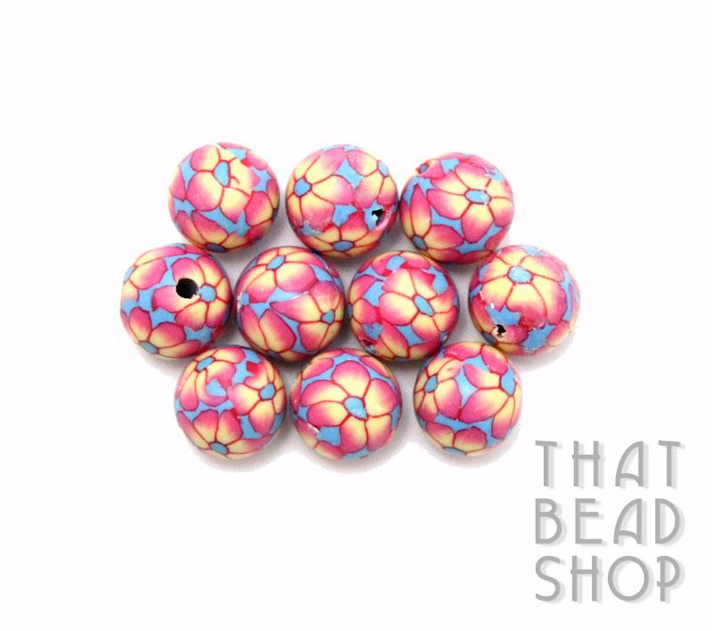 Blue with Sunset Pink Flower 10mm Round Polymer Clay Beads