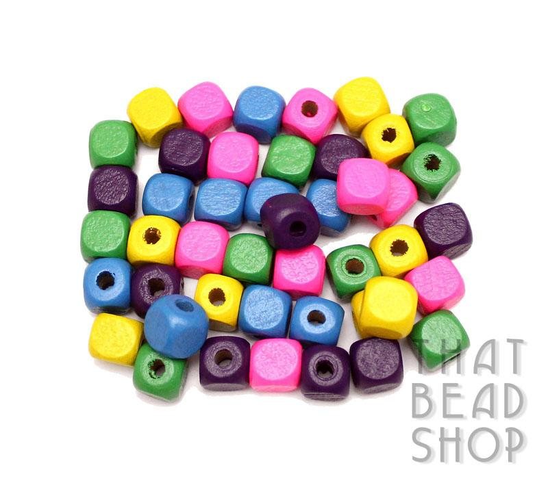 Colour Mix Cube Wood Beads - 10mm