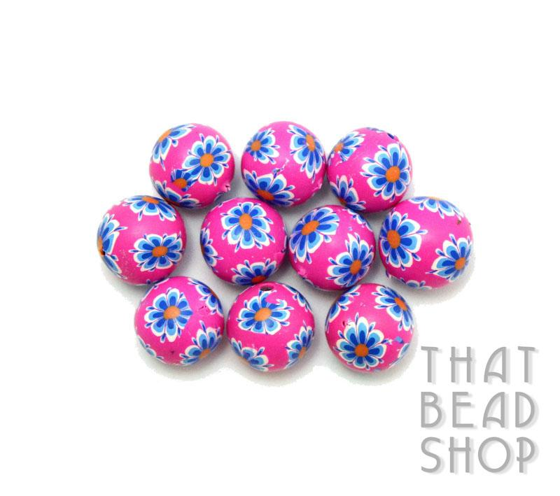Pink with Blue and White Daisy 10mm Round Polymer Clay Beads