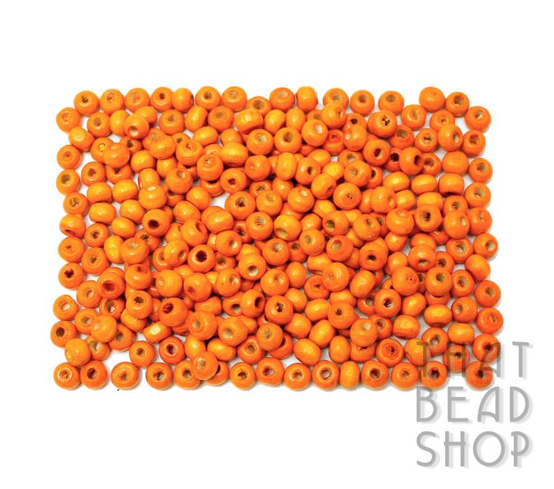 Orange Roundel Wood Beads - 6.5mm x 5mm