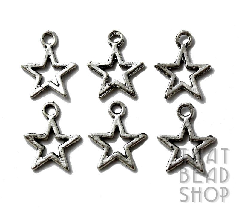 Antique Silver Star Frame Charm