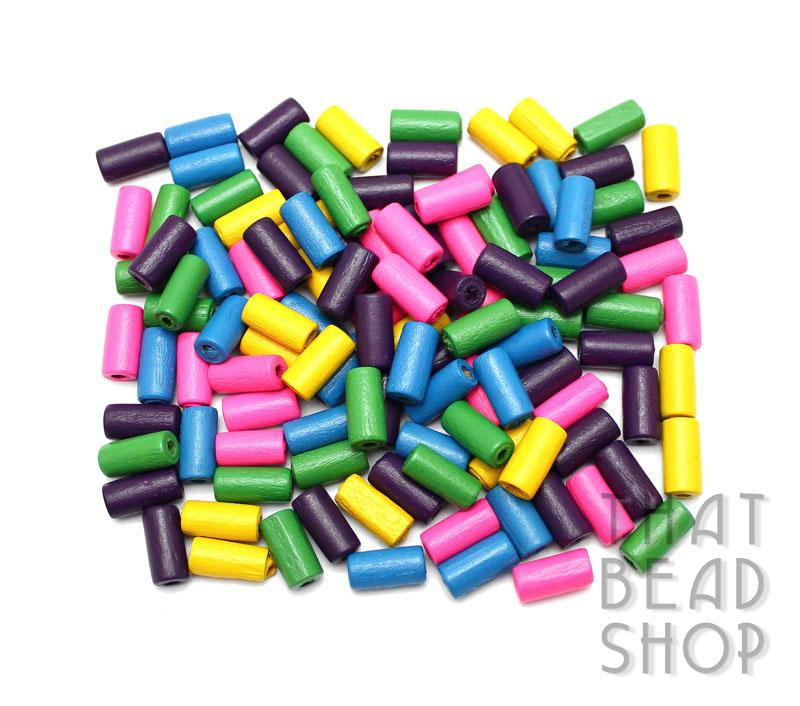 Mixed Colour Tube Shaped Wood Beads