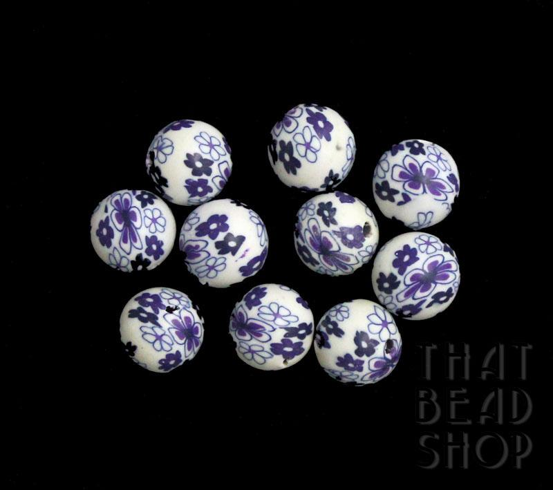 White and Purple Floral 10mm Round Polymer Clay Beads